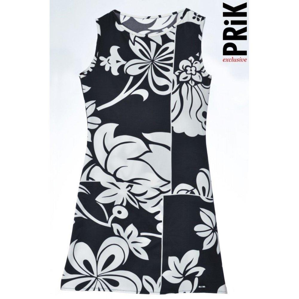 PRiK lagana haljina viskoza crno-bela