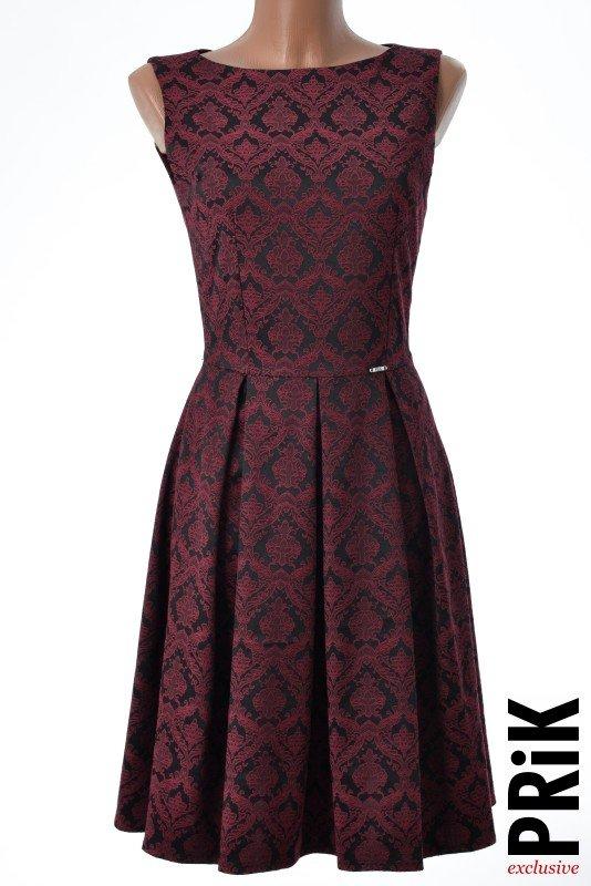 PRiK elegantna haljina sa faltama bordo-crna