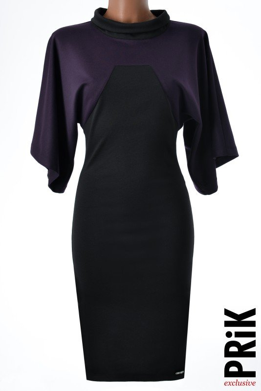 PRiK miš rukav haljina ljubičasto-crna