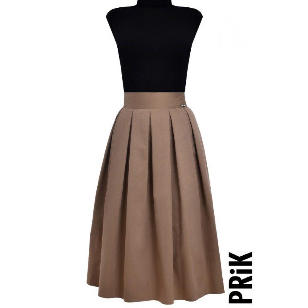 PRiK kapućino suknja sa faltama i džepovima