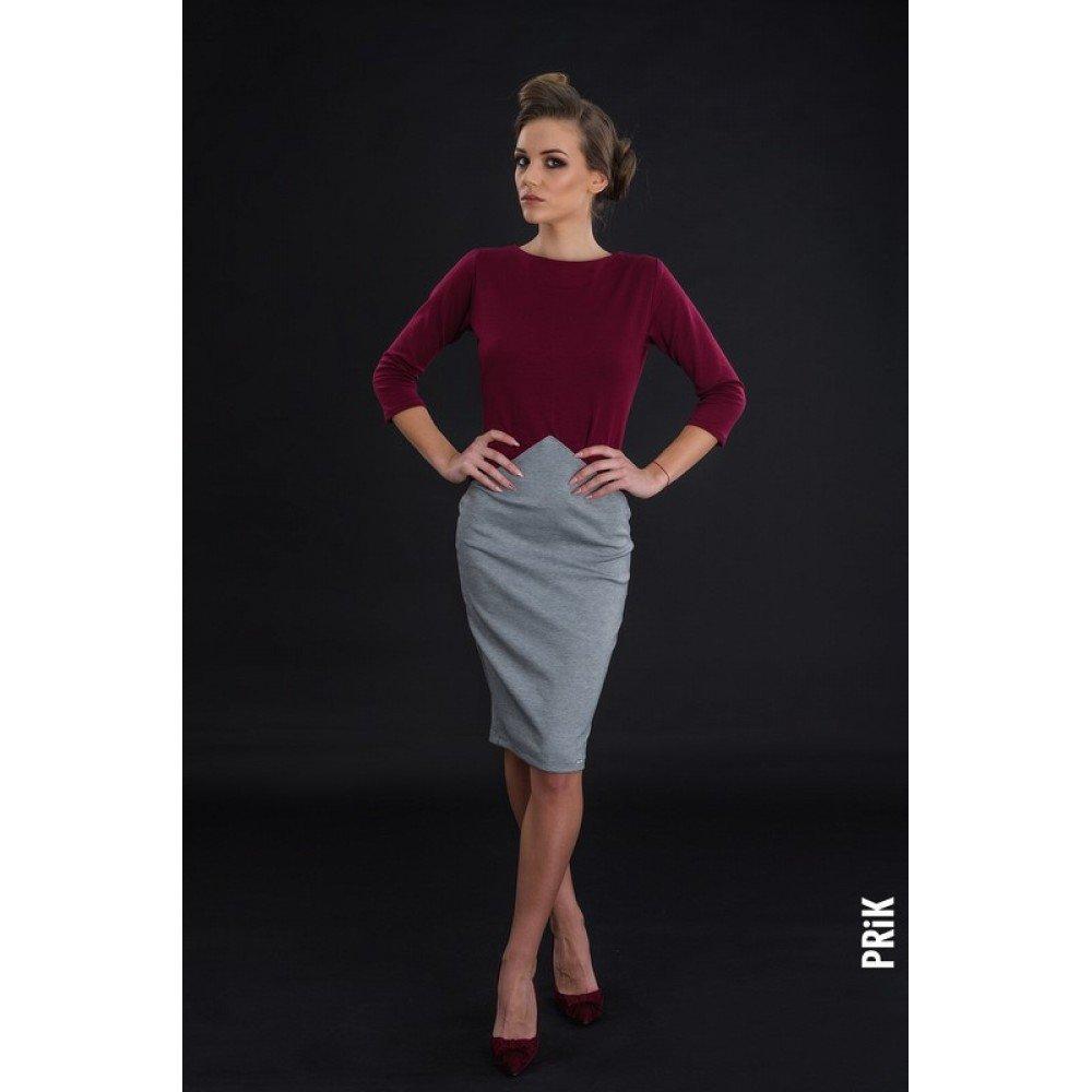 PRiK poslovna bordo svetlo siva haljina