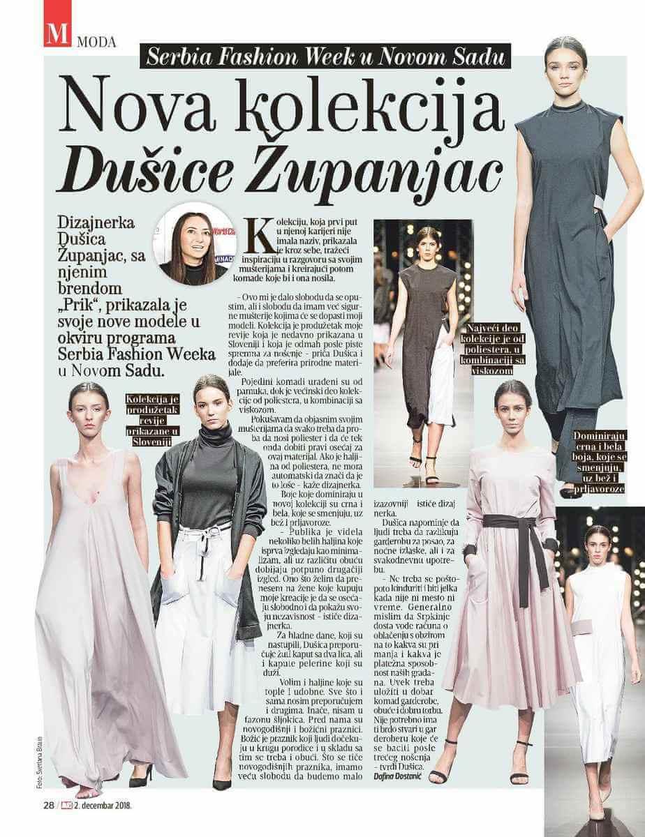 Dušica Županjac, Moda Magazine, PRiK SS19 kolecija, Serbia Fashion Week